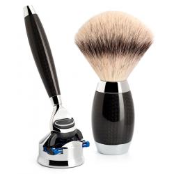 Mühle - Rasierset Silvertip Fibre® + Gillette® Fusion™ Griffmaterial aus Carbon