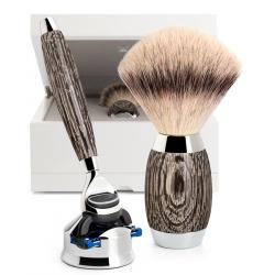 Mühle Rasierset Silvertip Fibre® mit Gillette® Fusion™ Mooreiche und Sterlingsilber